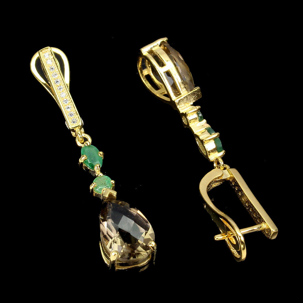A pair of 925 silver gilt drop earrings set with a pear checker board cut smokey quartz and - Image 2 of 2