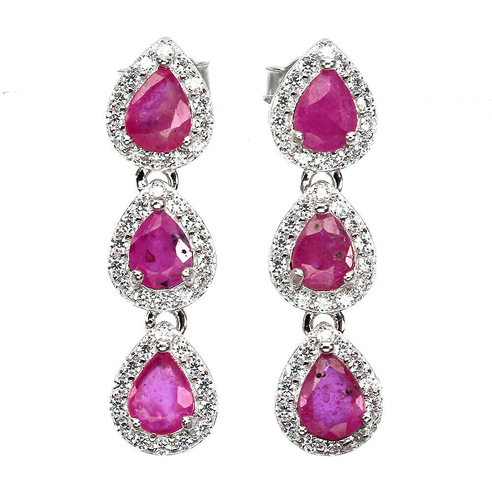 A pair of 925 silver drop earrings set with pear cut rubies and cubic zirconia, L. 2.5cm.