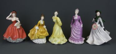 Twelve Coalport lady figurines and a further Royal Doulton figure, tallest H. 21cm.