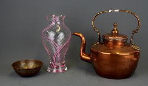 A 19th Century copper kettle with an Eastern copper brass bowl and a glass vase, kettle H. 27cm.