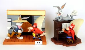 Two limited edition Wedgwood and Coalport group figures of Looney Tune characters, with boxes and
