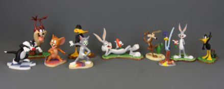 Ten Wedgwood porcelain figures of the Looney Tune characters together with Tom and Jerry, all with