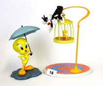 A Wedgwood limited edition porcelain figure of Tweety and Sylvester and a further Coalport figure of
