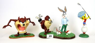 Two Coalport porcelain figures of Looney Tune characters playing golf and a further Wedgwood
