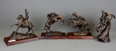 Four bronze Indian and Cowboy figurines issued by The Frederick Remington Art Museum, tallest H.