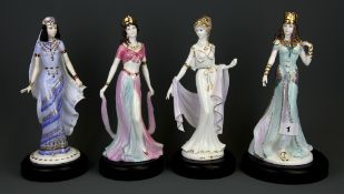 Four Coalport porcelain figures with plinths including 'Queen of Sheba', 'Salome', 'Helen of Troy'