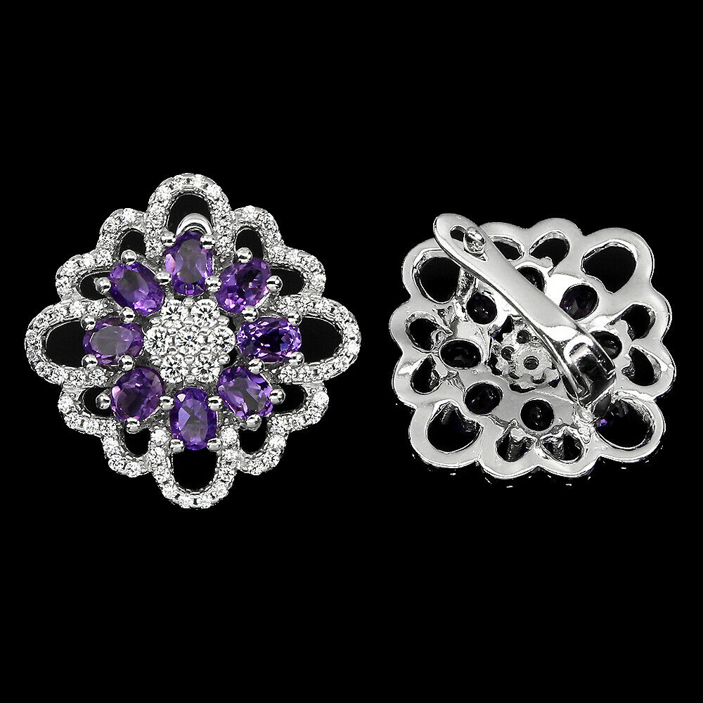 A pair of 925 silver amethyst and white stone set cluster earrings, L. 2cm. - Image 2 of 2