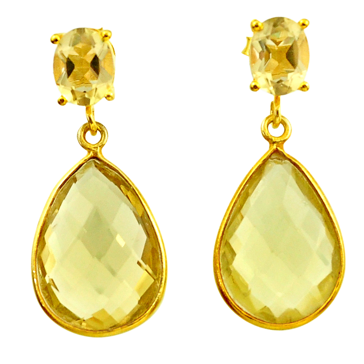 A pair of 925 silver gilt drop earrings set with faceted cut citrines, L. 3.2cm.