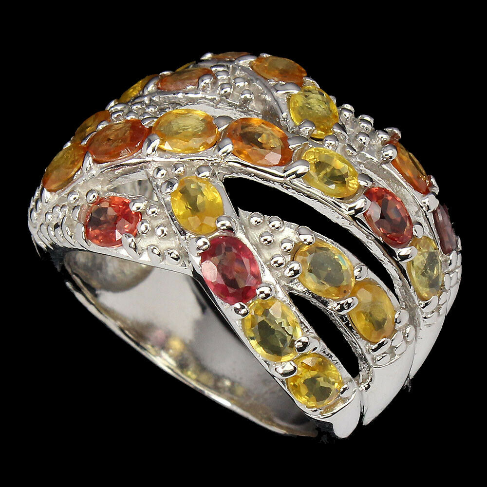 A 925 silver ring set with oval cut fancy sapphires, (P.5). - Image 2 of 2