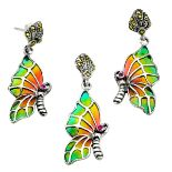 A pair of 925 silver and marcasite enamelled and ruby set butterfly shaped earrings and matching
