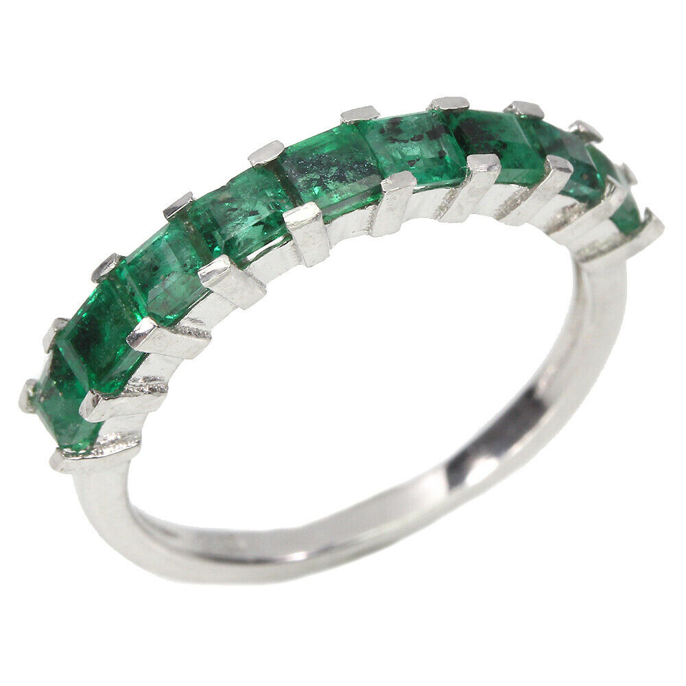 A 925 silver ring set with step cut emeralds, (L). - Image 2 of 2