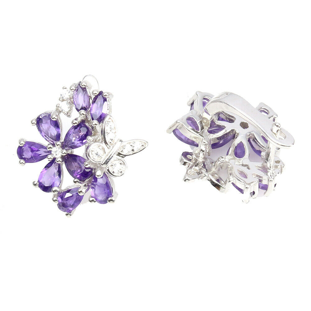 A pair of 925 silver flower shaped earrings set with pear cut amethyst and white stones, L. 2cm. - Image 2 of 2