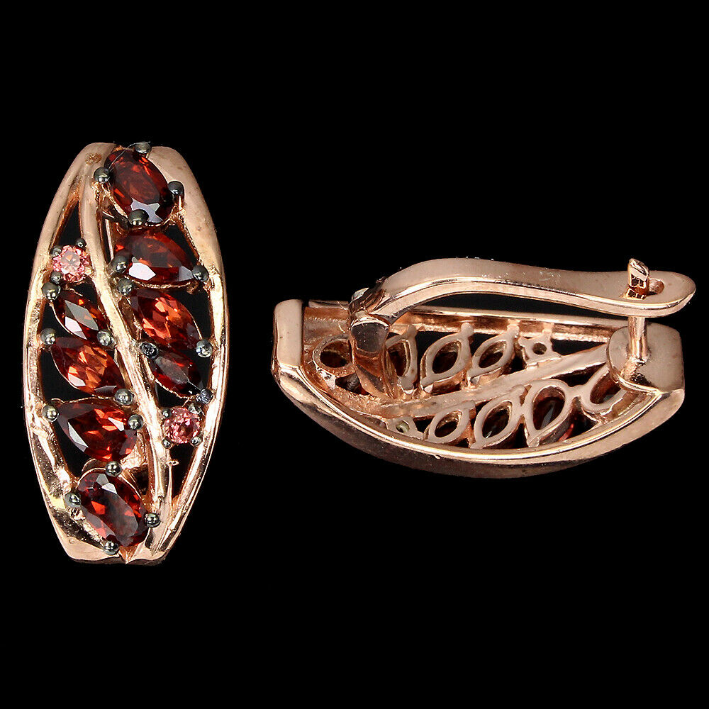 A pair of 925 silver rose gold gilt earrings set with pear and marquise cut garnets and pink - Image 2 of 2