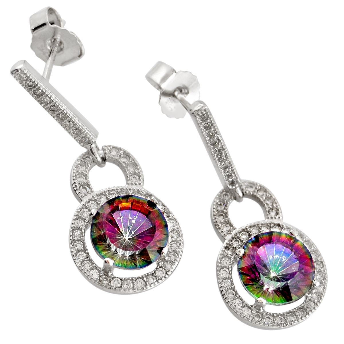 A pair of 925 silver drop earrings set with mystic topaz, L. 3cm.