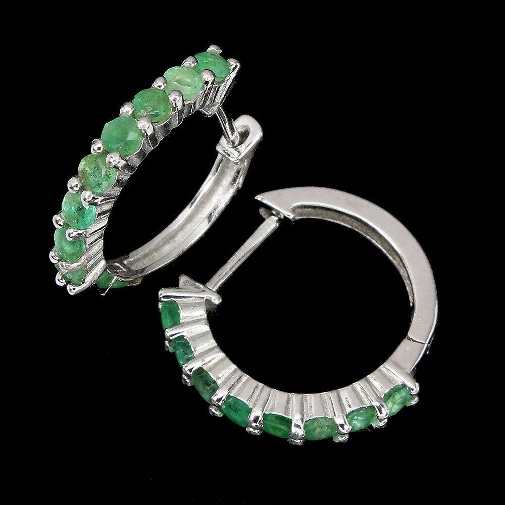 A pair of 925 silver emerald set hoop earrings, L. 1.7cm. - Image 2 of 2