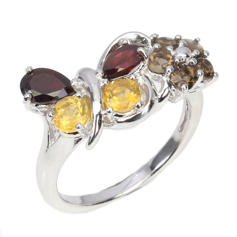 A 925 silver butterfly shaped ring set with garnet, citrines and smoky quartz, (N.5). - Image 2 of 2