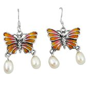A pair of 925 silver enamelled butterfly shaped drop earrings set with pearls, L. 3.58cm.