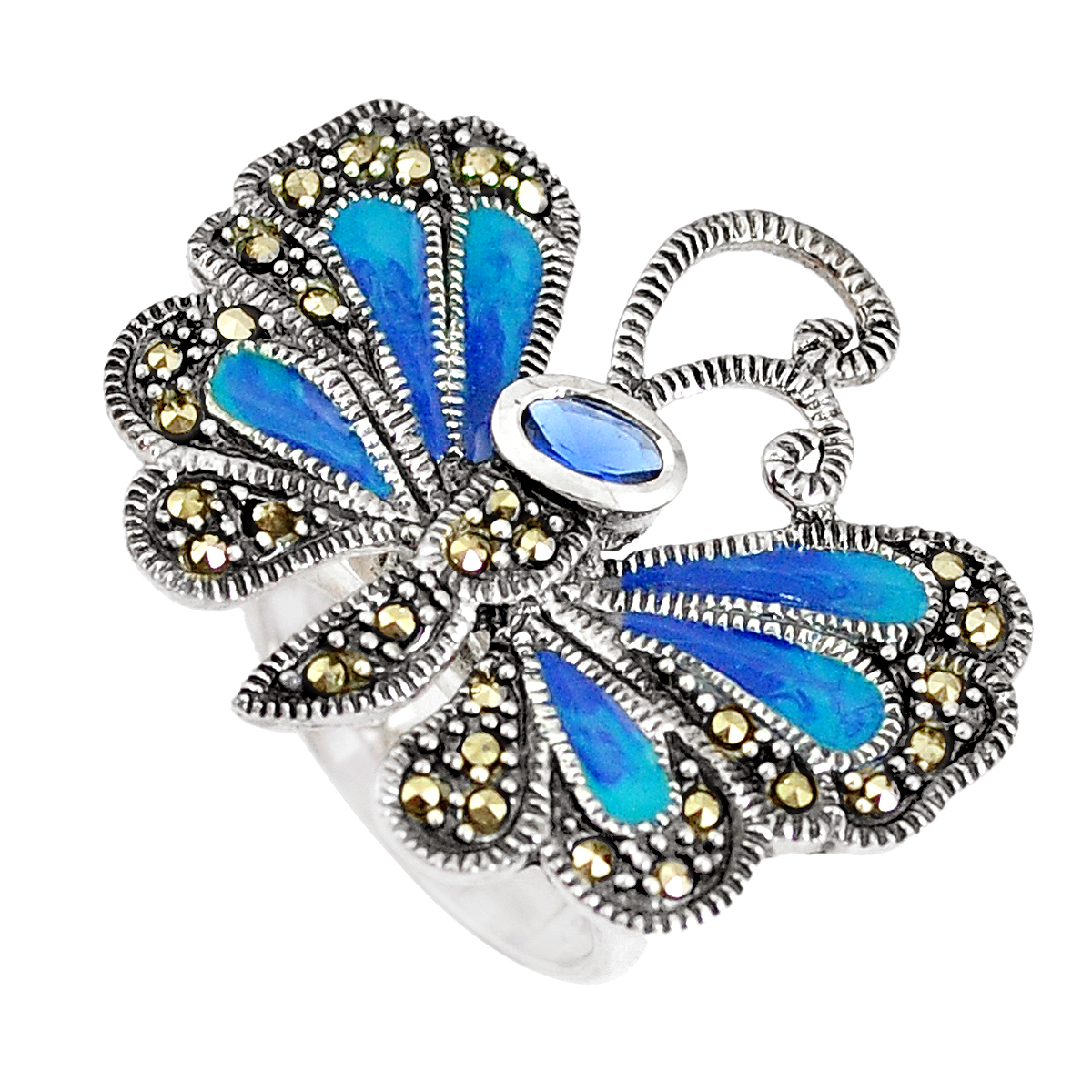 A 925 silver and marcasite butterfly shaped enamelled ring set with an oval cut blue stone, L.