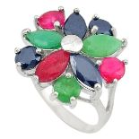 A 925 silver cluster ring set with emeralds, rubies and sapphires, (L.5).