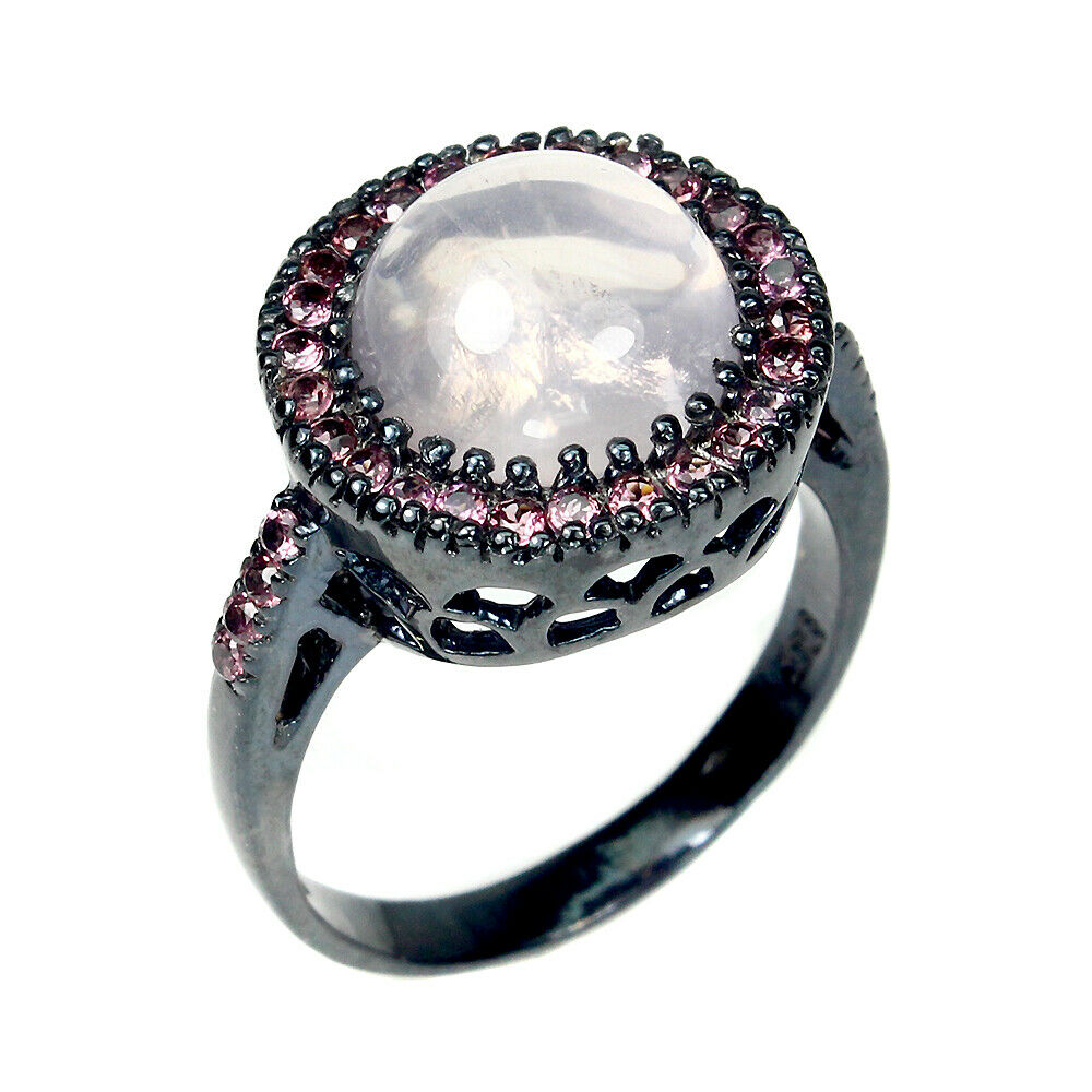 A 925 silver ring set with cabochon cut rose quartz pink sapphires, (R). - Image 2 of 2