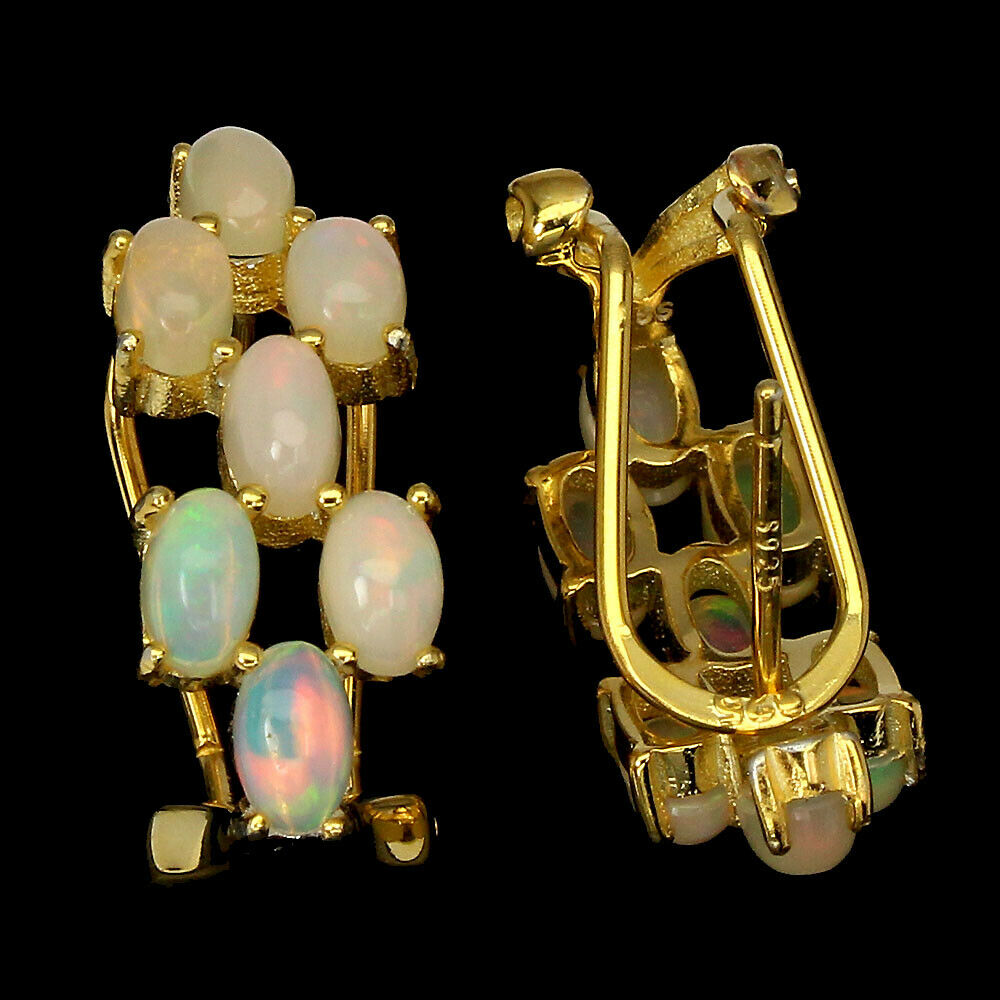 A pair of 925 silver gilt earrings set with cabochon cut opals, L. 2cm. - Image 2 of 2