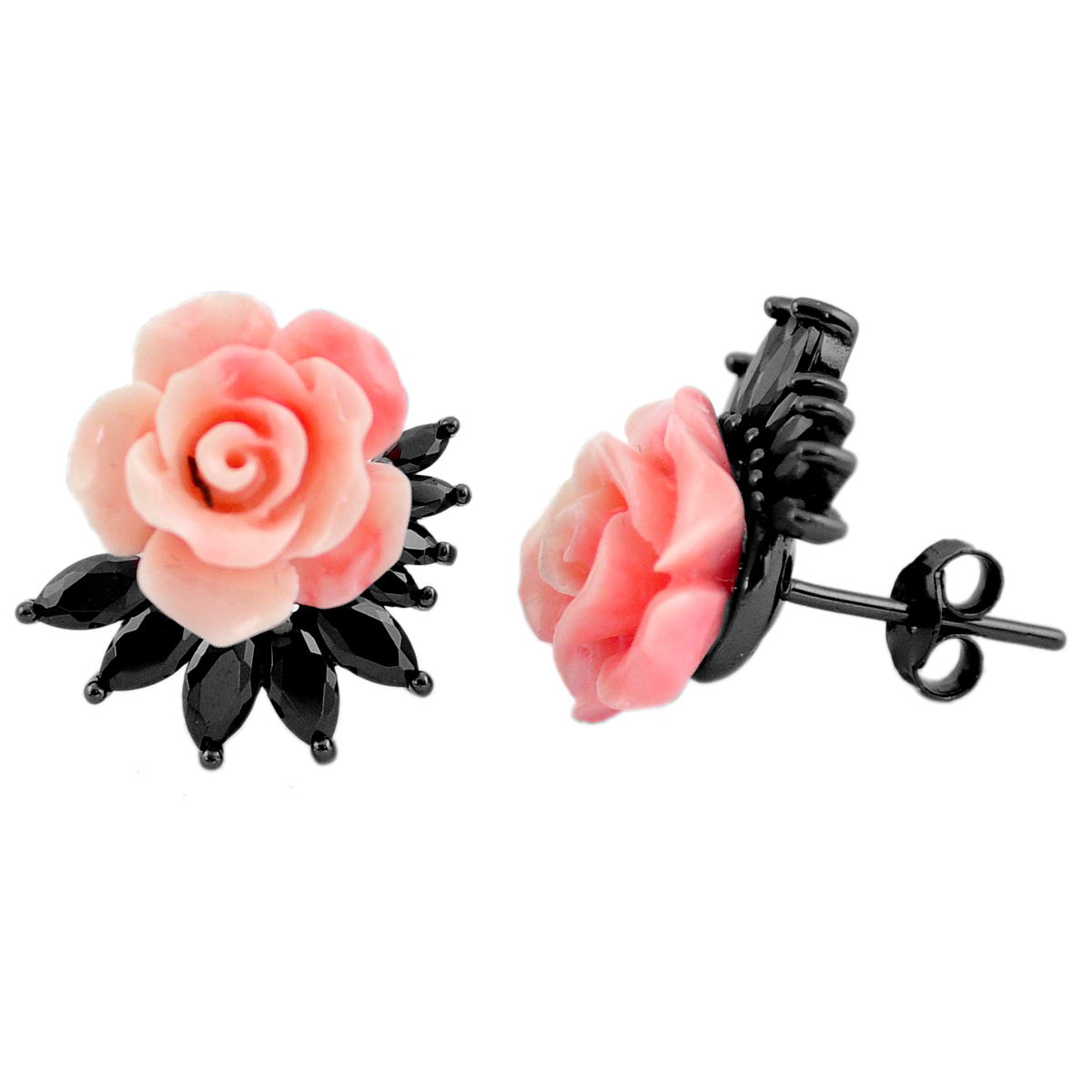 A pair of 925 silver earrings set with carved coral and hematite, L. 1.6cm.