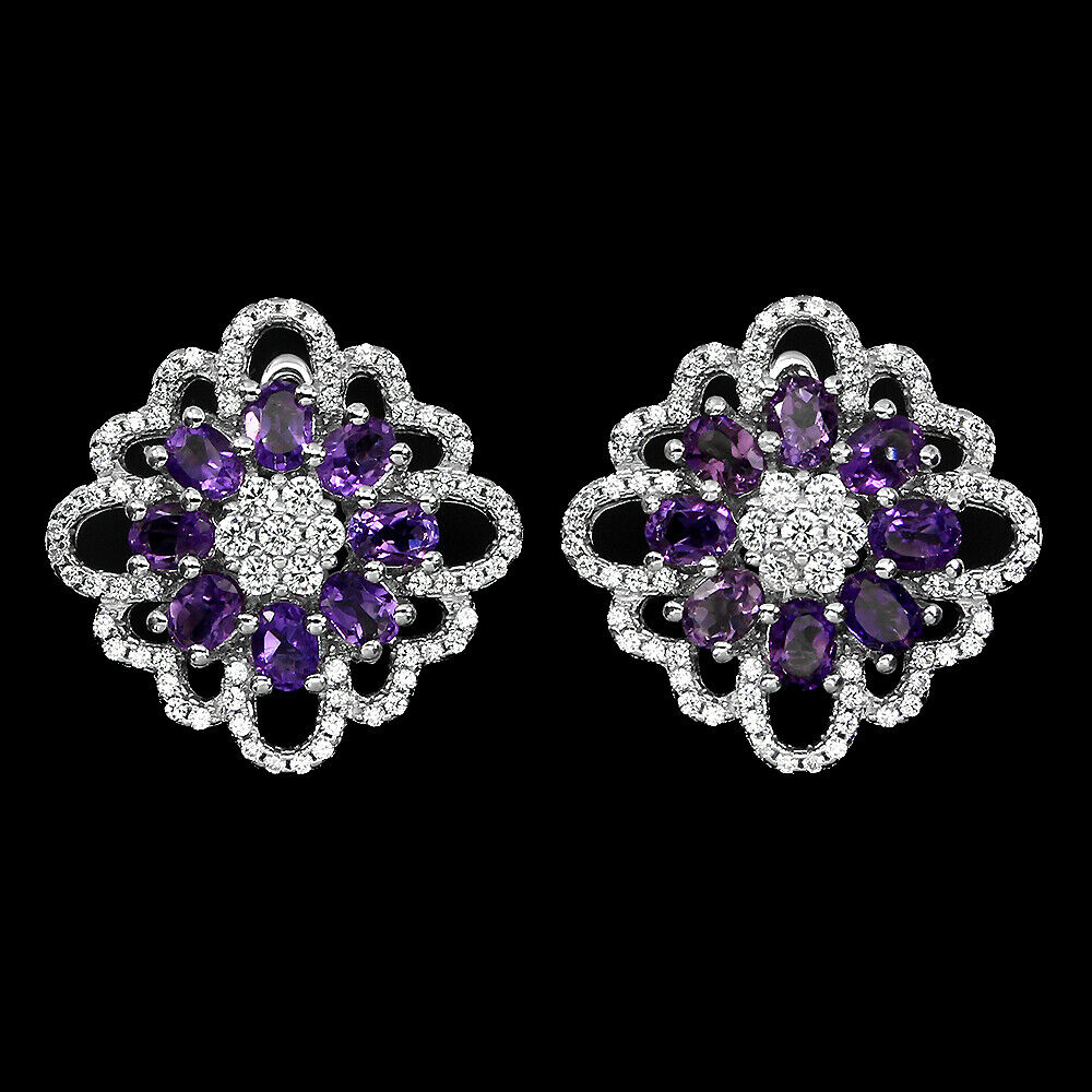 A pair of 925 silver amethyst and white stone set cluster earrings, L. 2cm.