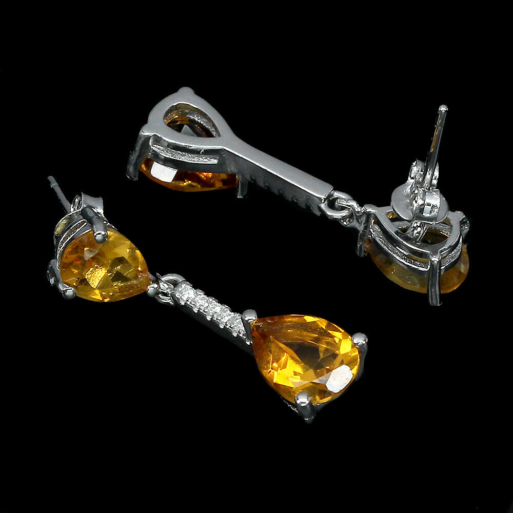 A pair of 925 silver pear cut citrine and white stone set drop earrings, L. 2.5cm. - Image 2 of 2