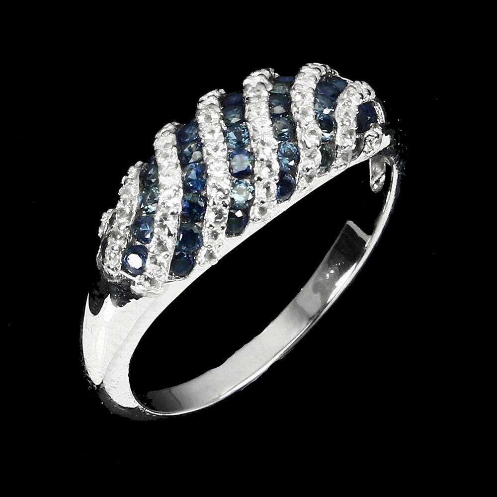 A 925 silver ring set with sapphires and white stones, (L). - Image 2 of 2
