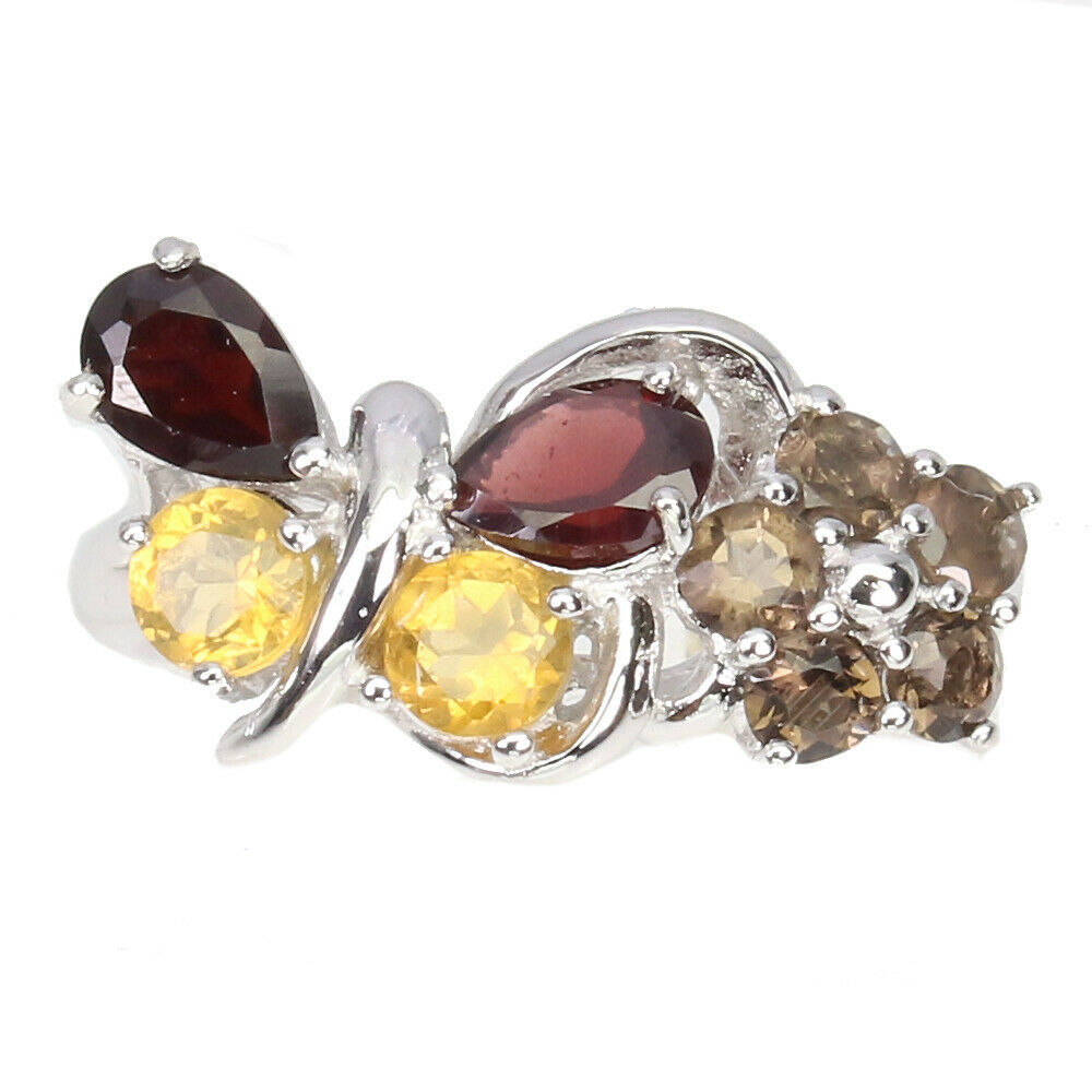 A 925 silver butterfly shaped ring set with garnet, citrines and smoky quartz, (N.5).