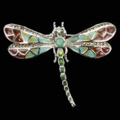 A 925 silver and marcasite enamelled dragonfly shaped brooch / pendant set with emeralds and