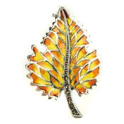 A 925 silver and marcasite enamelled leaf shaped brooch, L. 4.5cm.