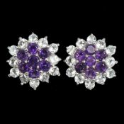 A pair of 925 silver amethyst and aquamarine set cluster earrings, Dia. 2cm.