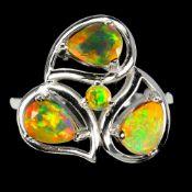 A 925 silver opal set ring, (P.5).