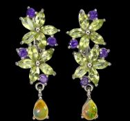 A pair of 925 silver flower shaped drop earrings set with marquise cut peridot, round cut