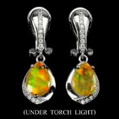 A pair of 925 silver drop earrings set with pear cut opals and white stones, L. 2.6cm.