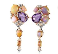 A pair of 925 silver rose gold gilt drop earrings set with checker board cut amethyst, cabochon