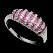A 925 silver ruby and white stone set ring, (P.5).