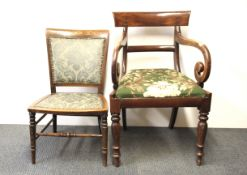 A Georgian mahogany armchair and an inlaid mahogany nursing chair.
