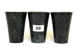 Three Chinese polished stone wine cups, H. 10cm.