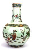 A Chinese hand painted porcelain vase, 19th/20th Century, H. 36cm.