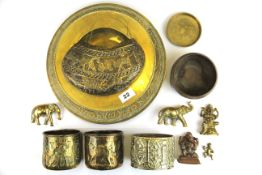 A quantity of oriental and other brass and copper items including two figures of Ganesh, largest