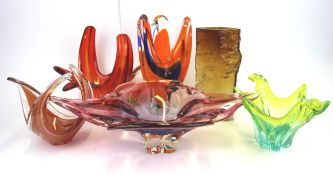 A signed Scandinavian Amber glass vase (minor chip to top rim), H .23cm. together with five Murano