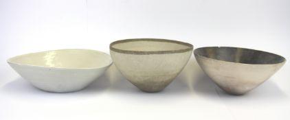 Three studio pottery bowls, largest Dia. 25.5cm.