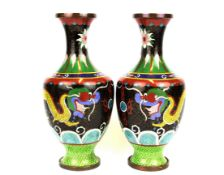 A pair of Chinese Cloisonne enamel on copper vases, H. 27cm. Condition: Very minor impact damage