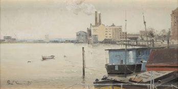 ? PAUL GUNN (BRITISH, B. 1934): Chelsea Wharf