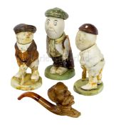 THREE EDWARDIAN CARICATURE SPORTING FIGURINES BY JOHN HASSALL FOR DUNLOP, RECOVERED FROM THE WRECK