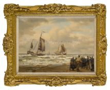 ROBERT BAGGE-SCOTT (BRITISH, 1849-1925): Dutch Pinks Coming Ashore, Katwijk