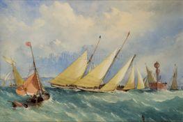 EDWIN WEEDON (BRITISH, 1819–1873); Yachting, Racing off Cowes Rounding the Lightship