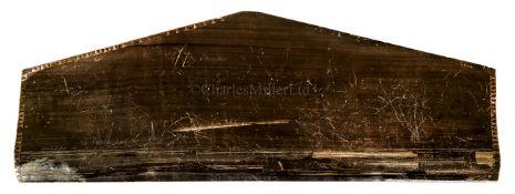 Ø A GOOD SCRIMSHAW DECORATED SAILORWORK BALEEN PLAQUE, CIRCA 1860